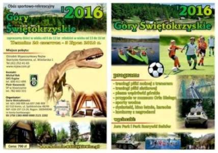 Letni obóz rekreacyjno-sportowy w Górach Świętokrzyskich 2016r. – Oferta