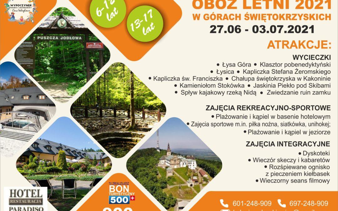 Obóz letni w Górach Świętokrzyskich 2021